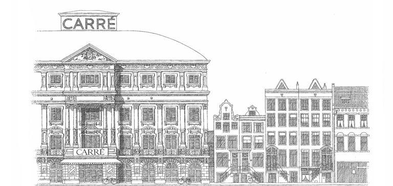 Schets theater Carré Amsterdam met diverse ruimtes